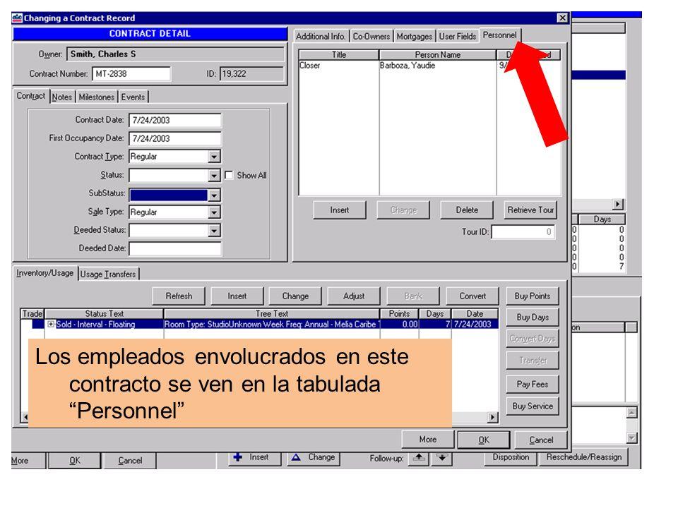 Los empleados envolucrados en este contracto se ven en la tabulada Personnel