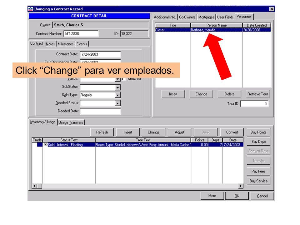 Click Change para ver empleados.