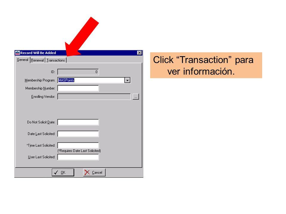 Click Transaction para ver información.