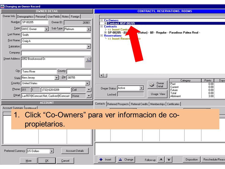 1.Click Co-Owners para ver informacion de co- propietarios.