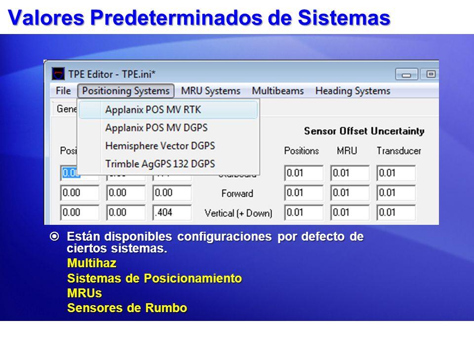 Valores Predeterminados de Sistemas Están disponibles configuraciones por defecto de ciertos sistemas. Están disponibles configuraciones por defecto d