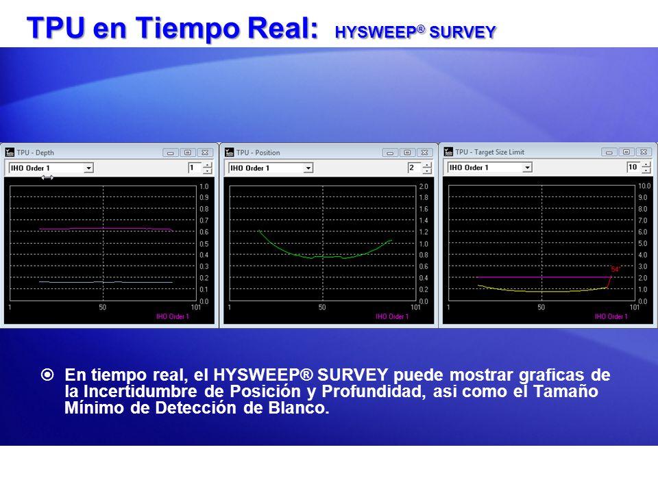 TPU en Tiempo Real: HYSWEEP ® SURVEY En tiempo real, el HYSWEEP® SURVEY puede mostrar graficas de la Incertidumbre de Posición y Profundidad, asi como