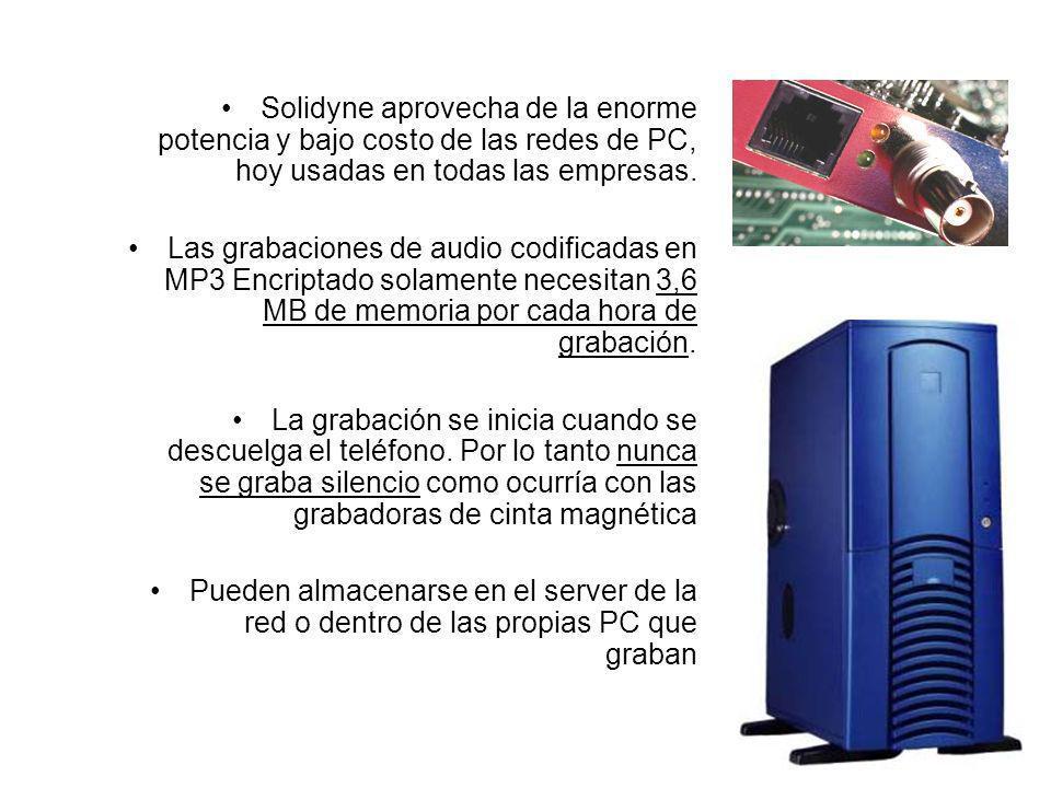 Solidyne aprovecha de la enorme potencia y bajo costo de las redes de PC, hoy usadas en todas las empresas. Las grabaciones de audio codificadas en MP