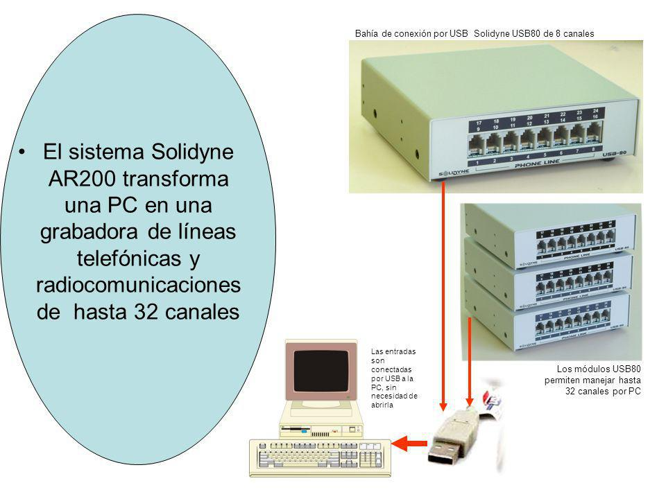 El sistema Solidyne AR200 transforma una PC en una grabadora de líneas telefónicas y radiocomunicaciones de hasta 32 canales Bahía de conexión por USB