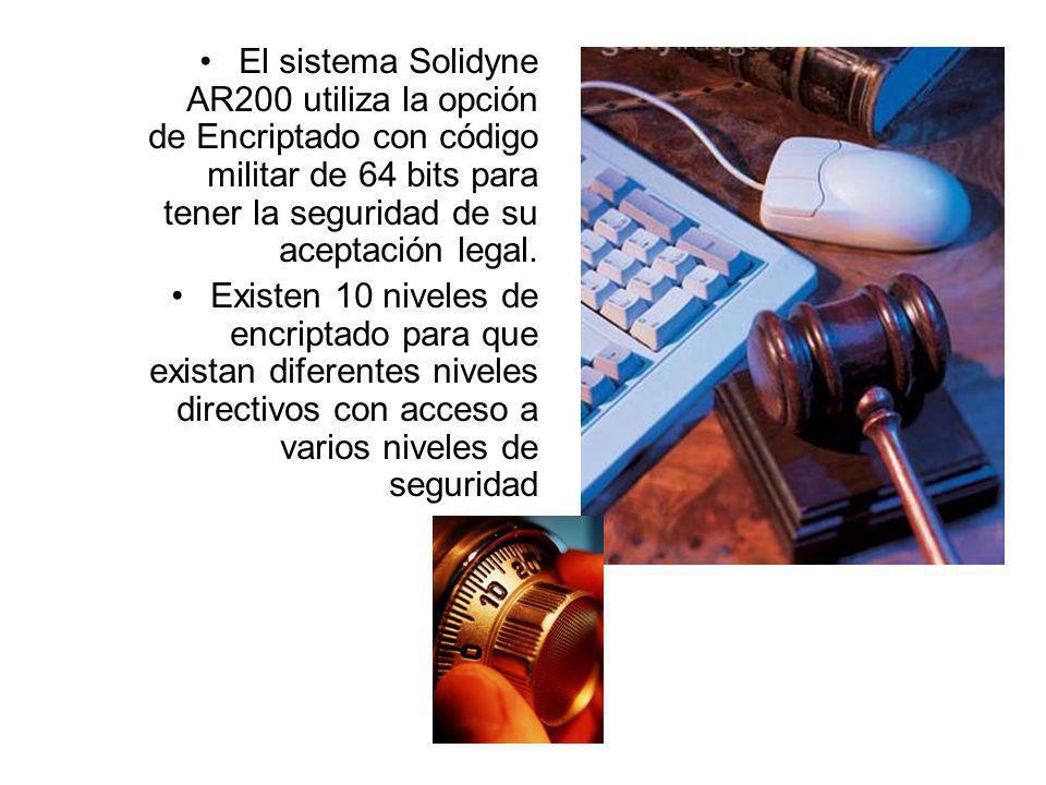 El sistema Solidyne AR200 utiliza la opción de Encriptado con código militar de 64 bits para tener la seguridad de su aceptación legal. Existen 10 niv