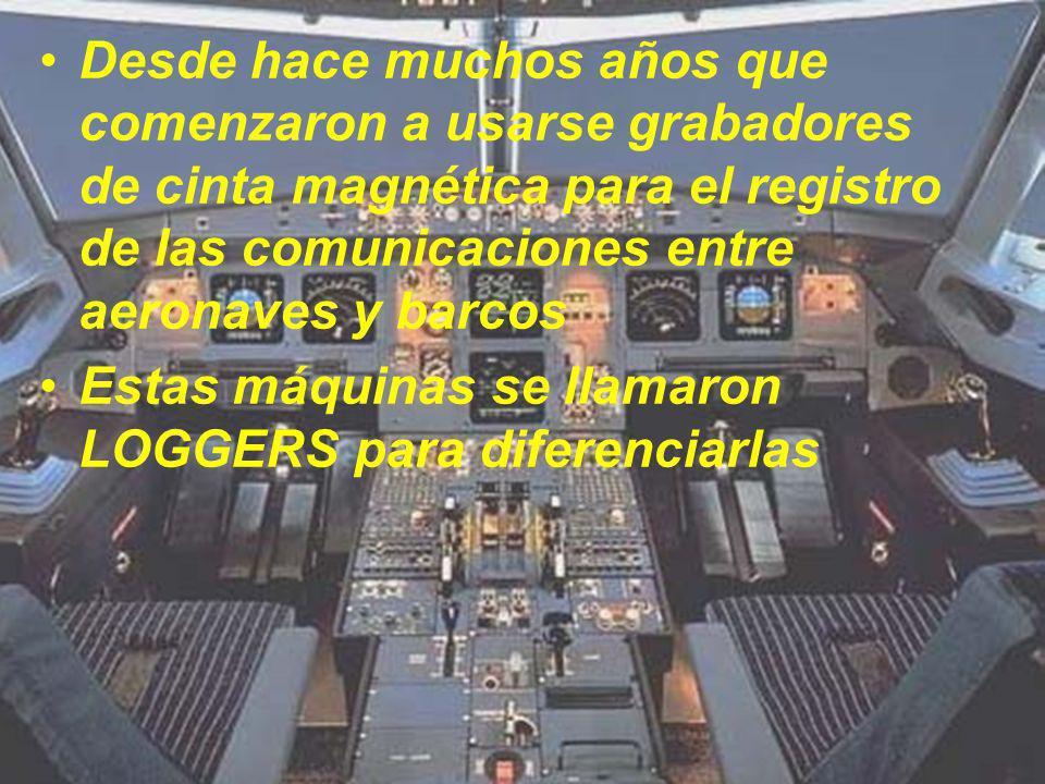 Desde hace muchos años que comenzaron a usarse grabadores de cinta magnética para el registro de las comunicaciones entre aeronaves y barcos Estas máq