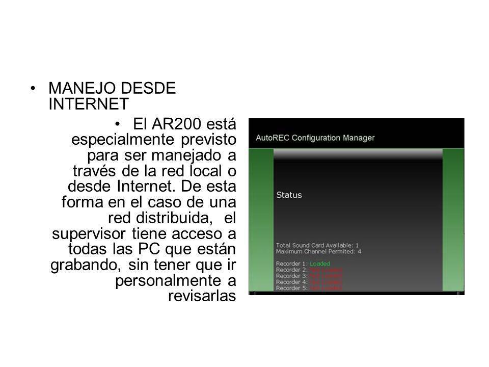 MANEJO DESDE INTERNET El AR200 está especialmente previsto para ser manejado a través de la red local o desde Internet. De esta forma en el caso de un