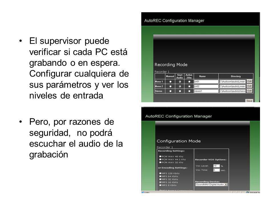 El supervisor puede verificar si cada PC está grabando o en espera. Configurar cualquiera de sus parámetros y ver los niveles de entrada Pero, por raz
