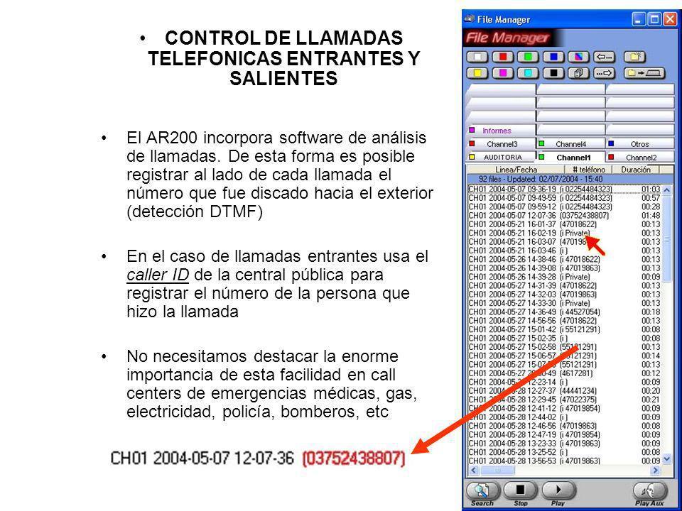 CONTROL DE LLAMADAS TELEFONICAS ENTRANTES Y SALIENTES El AR200 incorpora software de análisis de llamadas. De esta forma es posible registrar al lado