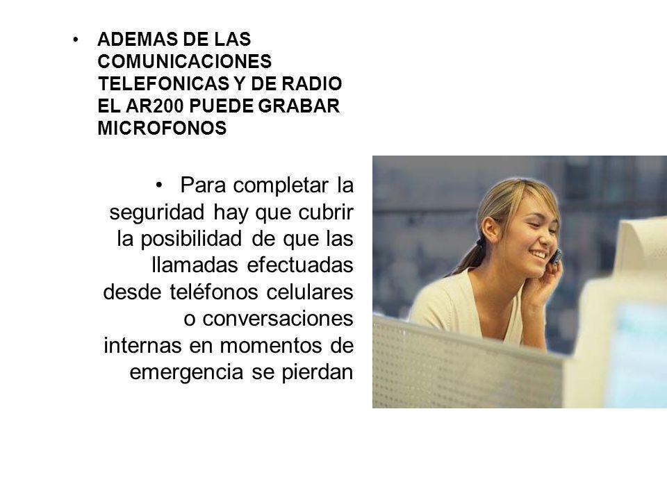 ADEMAS DE LAS COMUNICACIONES TELEFONICAS Y DE RADIO EL AR200 PUEDE GRABAR MICROFONOS Para completar la seguridad hay que cubrir la posibilidad de que