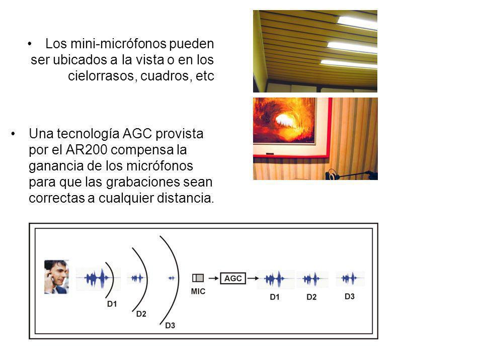 Los mini-micrófonos pueden ser ubicados a la vista o en los cielorrasos, cuadros, etc Una tecnología AGC provista por el AR200 compensa la ganancia de