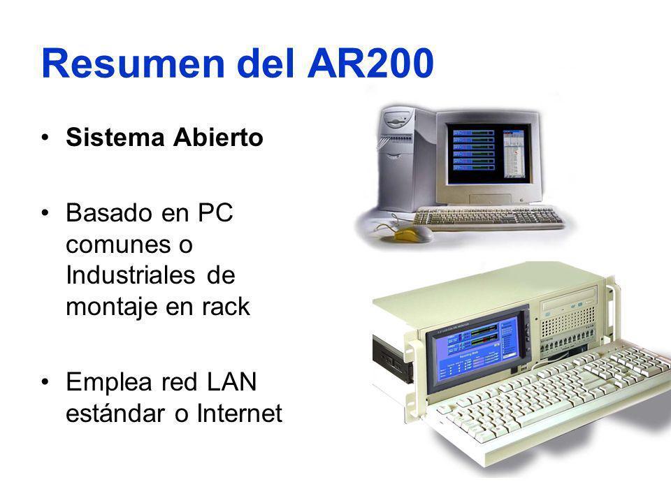 Resumen del AR200 Sistema Abierto Basado en PC comunes o Industriales de montaje en rack Emplea red LAN estándar o Internet