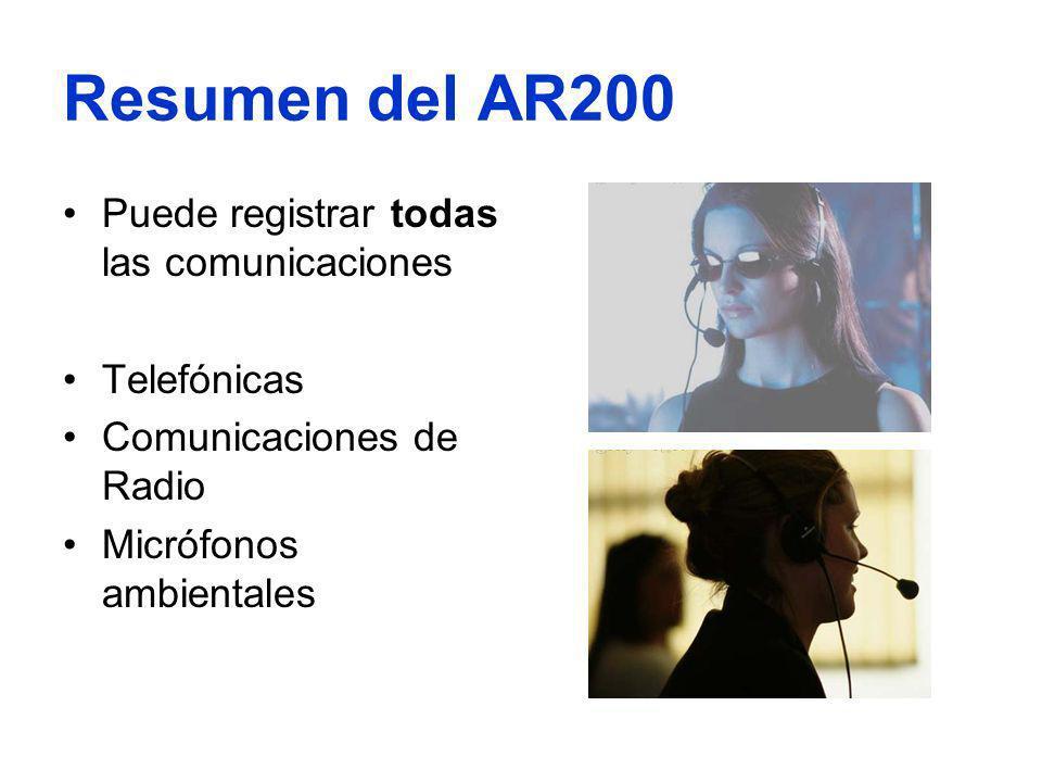 Resumen del AR200 Puede registrar todas las comunicaciones Telefónicas Comunicaciones de Radio Micrófonos ambientales