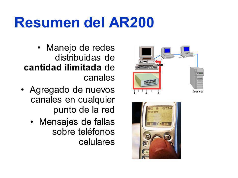 Resumen del AR200 Manejo de redes distribuidas de cantidad ilimitada de canales Agregado de nuevos canales en cualquier punto de la red Mensajes de fa