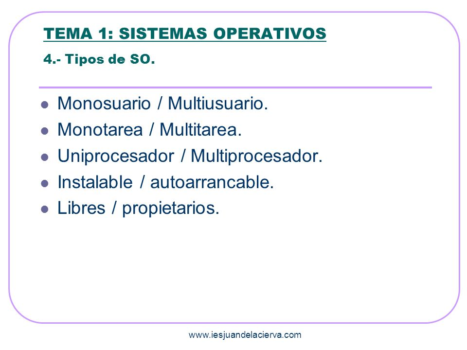 www.iesjuandelacierva.com TEMA 1: SISTEMAS OPERATIVOS 5.