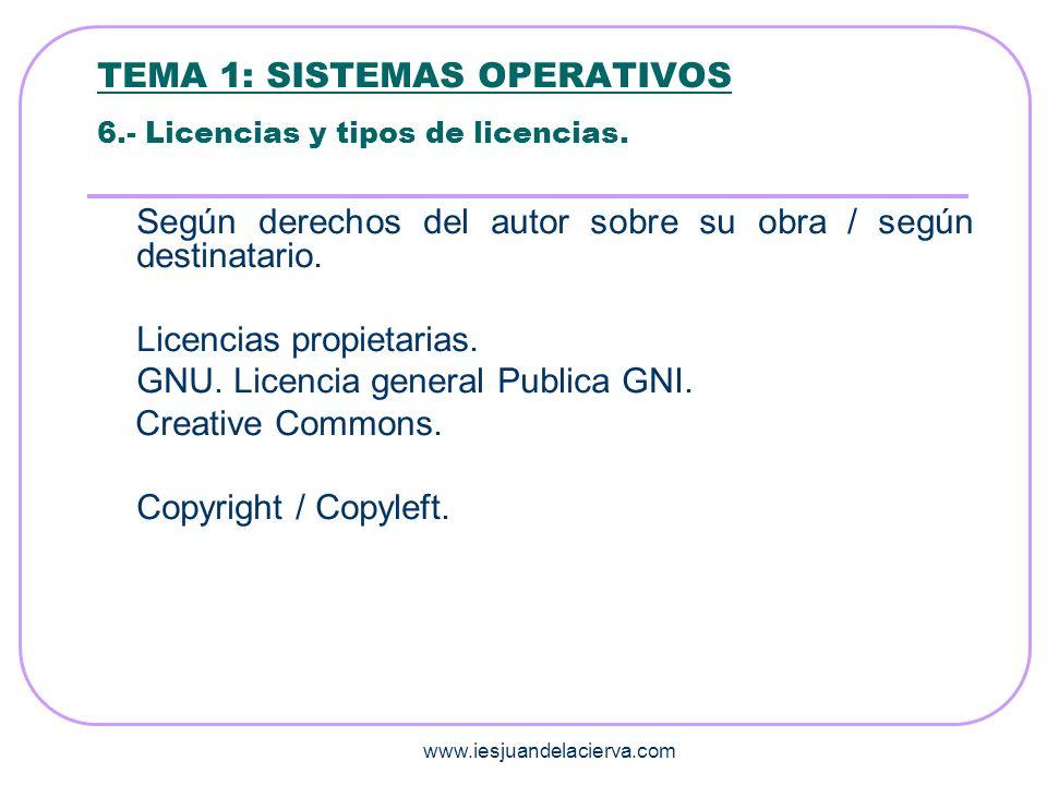 www.iesjuandelacierva.com TEMA 1: SISTEMAS OPERATIVOS 6.- Licencias y tipos de licencias. Según derechos del autor sobre su obra / según destinatario.