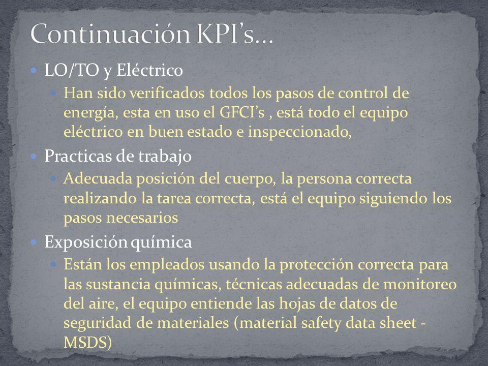 LO/TO y Eléctrico Han sido verificados todos los pasos de control de energía, esta en uso el GFCIs, está todo el equipo eléctrico en buen estado e ins
