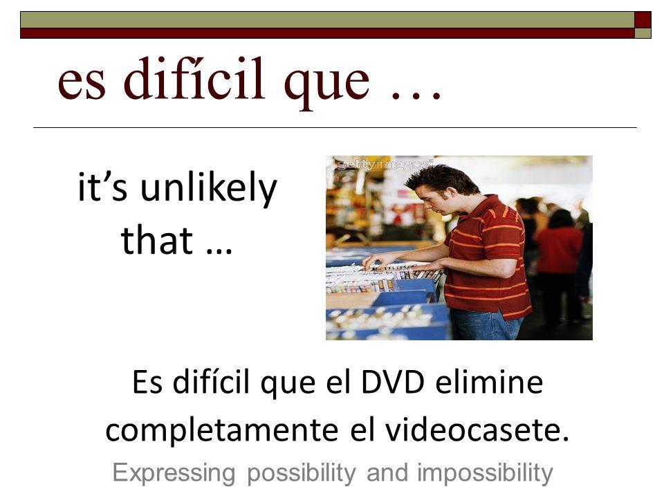 es difícil que … Expressing possibility and impossibility its unlikely that … Es difícil que el DVD elimine completamente el videocasete.
