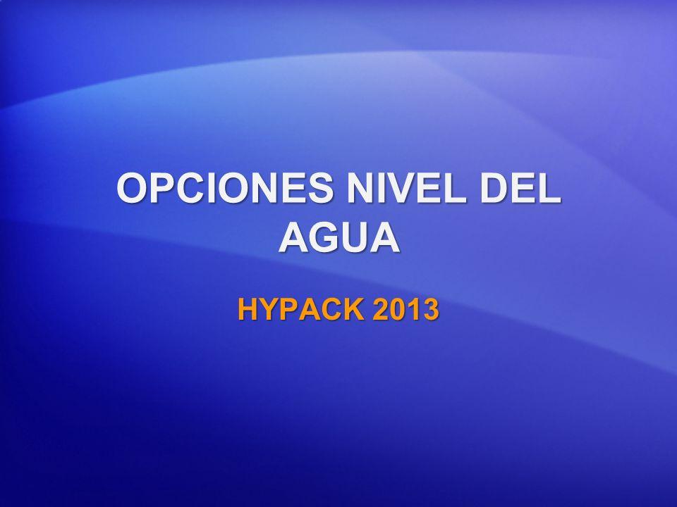 OPCIONES NIVEL DEL AGUA HYPACK 2013