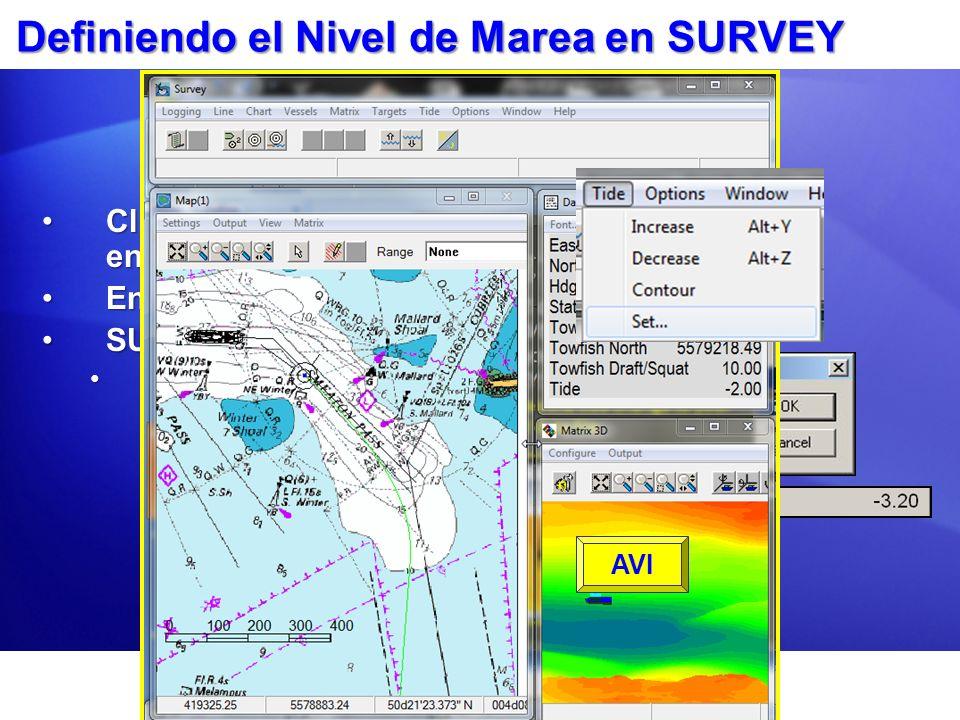Definiendo el Nivel de Marea en SURVEY Clic en el ítem Tide – Set en SURVEY.Clic en el ítem Tide – Set en SURVEY. Entre su valor de corrección.Entre s
