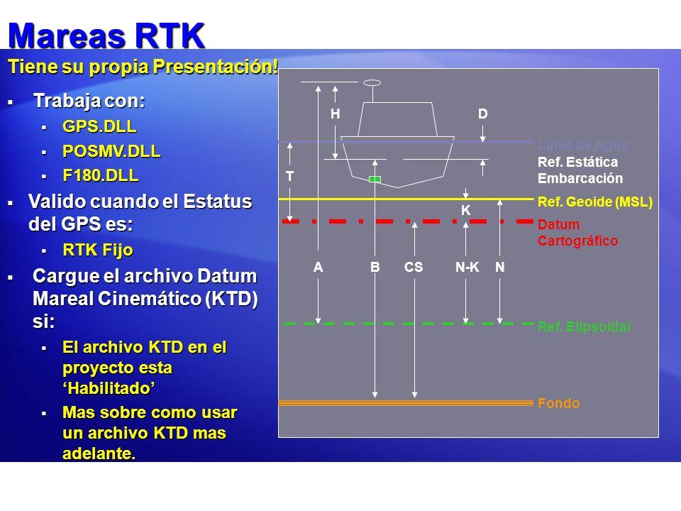 Mareas RTK Tiene su propia Presentación! Línea de Agua Ref. Estática Embarcación DH Fondo B Datum Cartográfico CS Ref. Elipsoidal Ref. Geoide (MSL) A