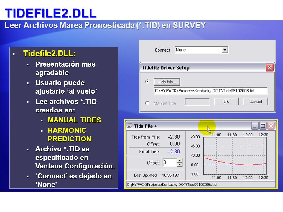 TIDEFILE2.DLL Leer Archivos Marea Pronosticada (*.TID) en SURVEY Tidefile2.DLL: Tidefile2.DLL: Presentación mas agradable Presentación mas agradable U