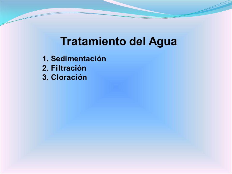Tratamiento del Agua 1.Sedimentación 2.Filtración 3.Cloración