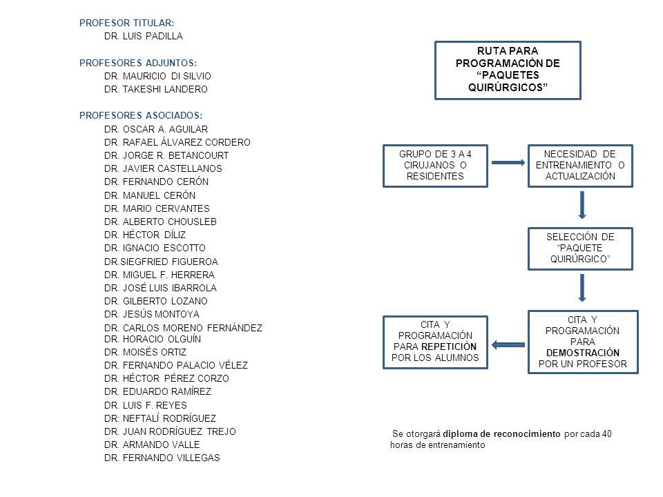 PROFESOR TITULAR: DR. LUIS PADILLA PROFESORES ADJUNTOS: DR. MAURICIO DI SILVIO DR. TAKESHI LANDERO PROFESORES ASOCIADOS: DR. OSCAR A. AGUILAR DR. RAFA