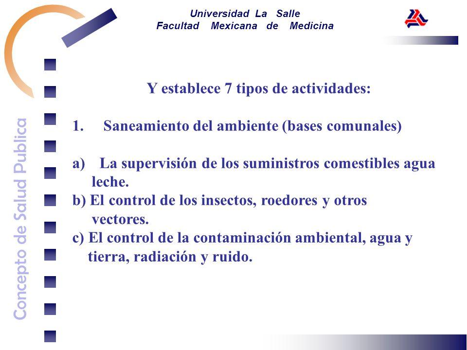 Concepto de Salud Publica Universidad La Salle Facultad Mexicana de Medicina Y establece 7 tipos de actividades: 1. Saneamiento del ambiente (bases co