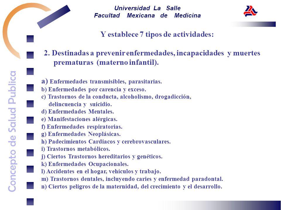 Concepto de Salud Publica Universidad La Salle Facultad Mexicana de Medicina Y establece 7 tipos de actividades: 2. Destinadas a prevenir enfermedades
