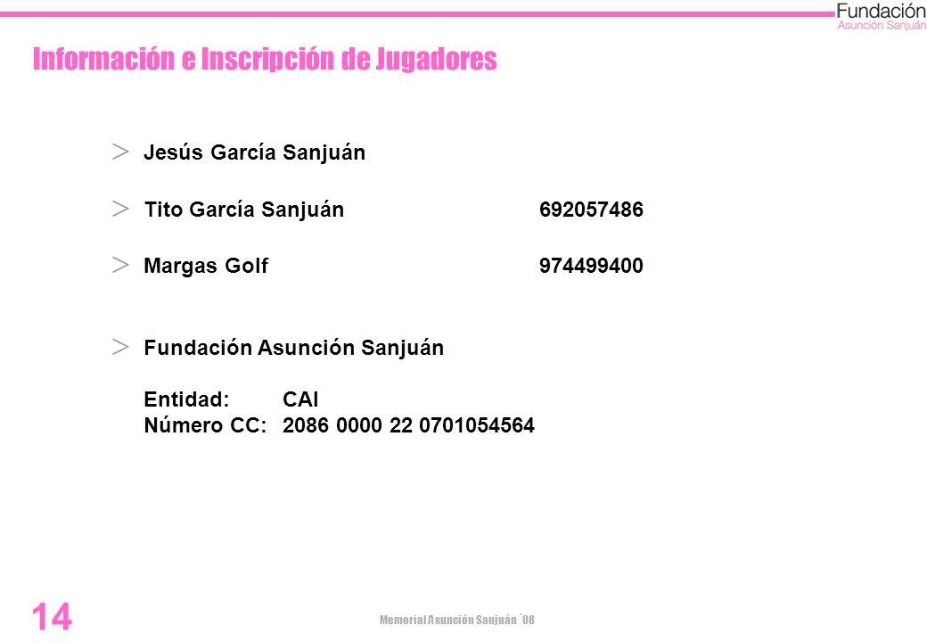 Memorial Asunción Sanjuán ´08 14 Información e Inscripción de Jugadores Jesús García Sanjuán Tito García Sanjuán692057486 Margas Golf974499400 Fundaci