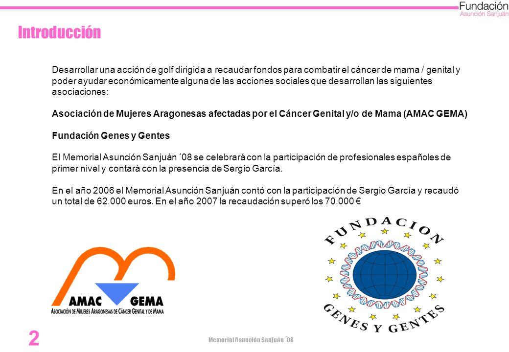 Memorial Asunción Sanjuán ´08 2 Introducción Desarrollar una acción de golf dirigida a recaudar fondos para combatir el cáncer de mama / genital y pod