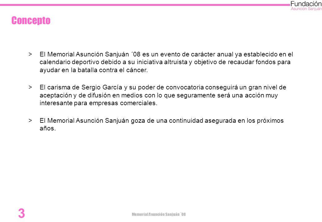 Memorial Asunción Sanjuán ´08 14 Información e Inscripción de Jugadores Jesús García Sanjuán Tito García Sanjuán692057486 Margas Golf974499400 Fundación Asunción Sanjuán Entidad:CAI Número CC:2086 0000 22 0701054564
