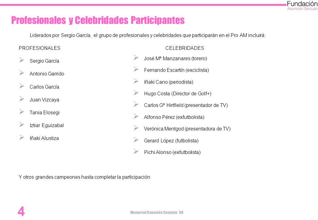 Memorial Asunción Sanjuán ´08 4 Profesionales y Celebridades Participantes Liderados por Sergio García, el grupo de profesionales y celebridades que p