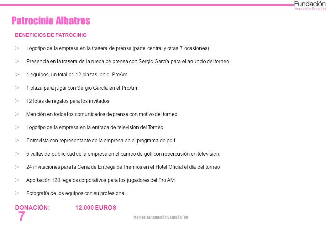 Memorial Asunción Sanjuán ´08 7 Patrocinio Albatros BENEFICIOS DE PATROCINIO Logotipo de la empresa en la trasera de prensa (parte central y otras 7 o