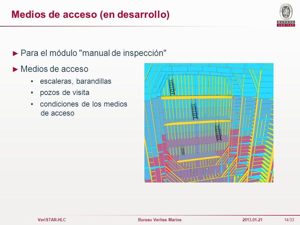 14/33 VeriSTAR-HLC Bureau Veritas Marine 2013.01.21 Medios de acceso (en desarrollo) Para el módulo