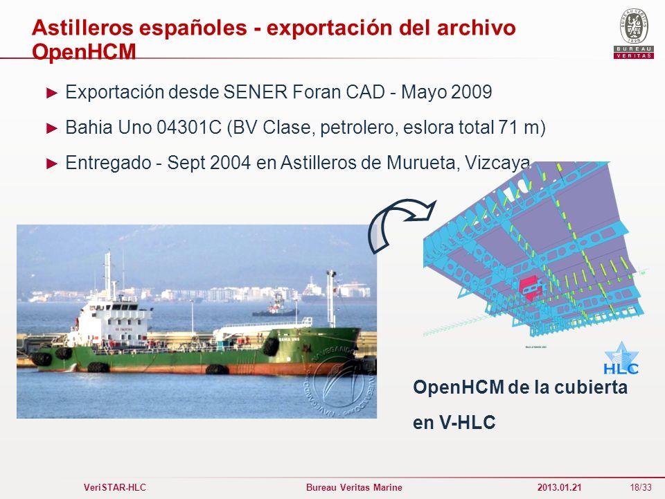 18/33 VeriSTAR-HLC Bureau Veritas Marine 2013.01.21 Astilleros españoles - exportación del archivo OpenHCM Exportación desde SENER Foran CAD - Mayo 20