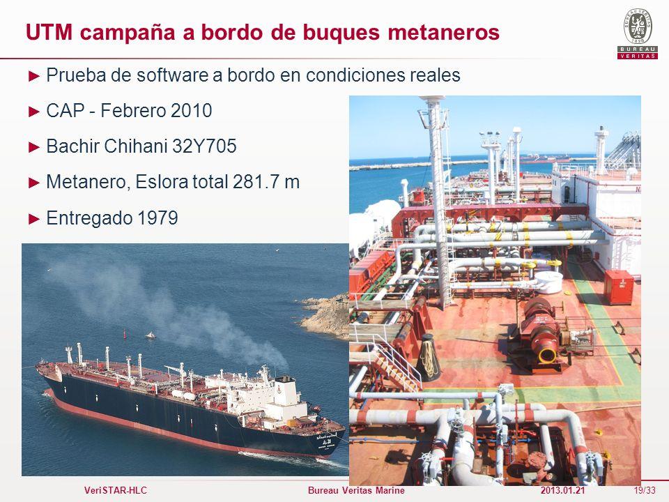19/33 VeriSTAR-HLC Bureau Veritas Marine 2013.01.21 UTM campaña a bordo de buques metaneros Prueba de software a bordo en condiciones reales CAP - Feb