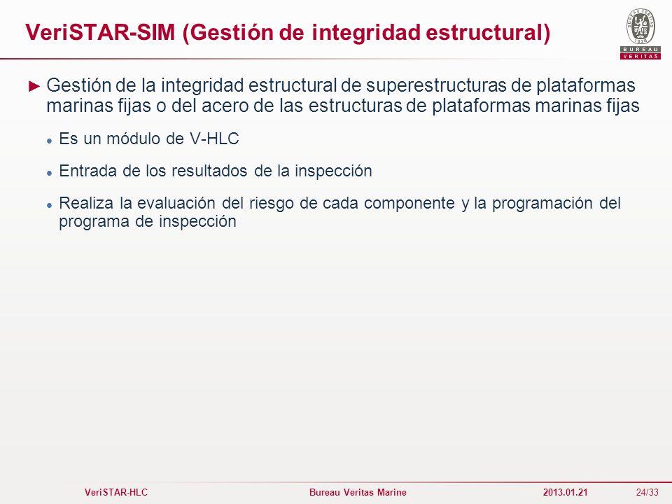 24/33 VeriSTAR-HLC Bureau Veritas Marine 2013.01.21 VeriSTAR-SIM (Gestión de integridad estructural) Gestión de la integridad estructural de superestr