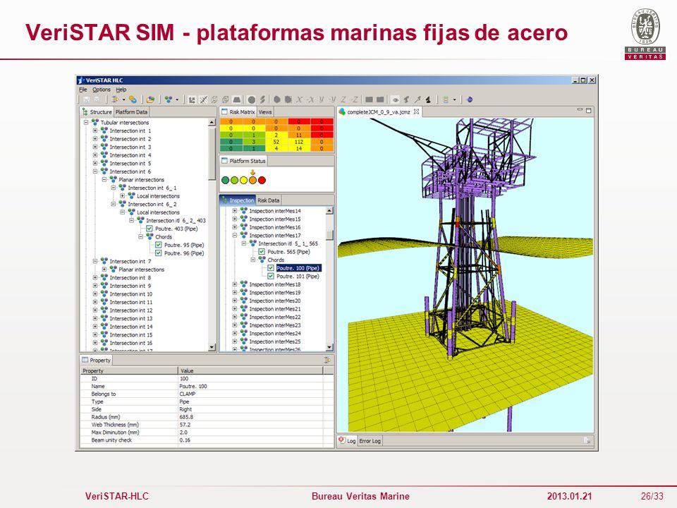 26/33 VeriSTAR-HLC Bureau Veritas Marine 2013.01.21 VeriSTAR SIM - plataformas marinas fijas de acero