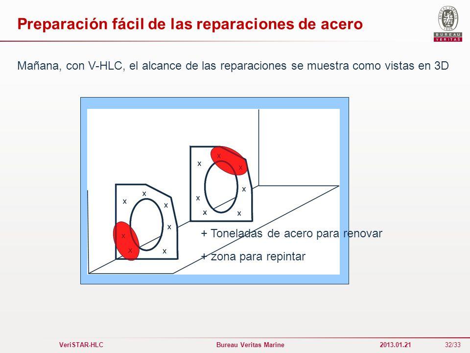 32/33 VeriSTAR-HLC Bureau Veritas Marine 2013.01.21 Preparación fácil de las reparaciones de acero + Toneladas de acero para renovar + zona para repin