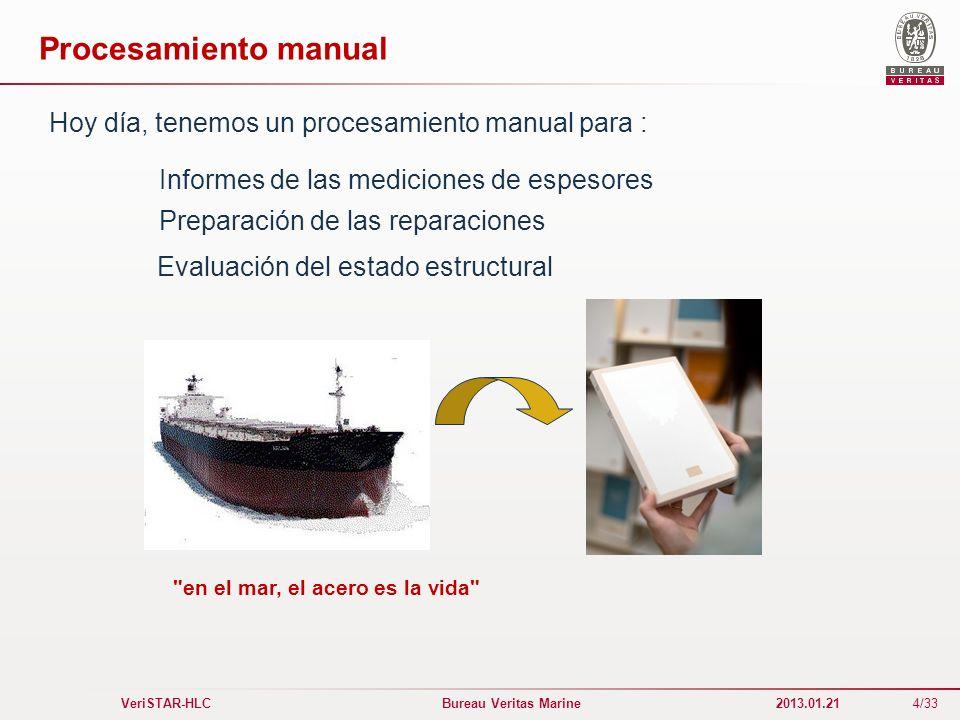 4/33 VeriSTAR-HLC Bureau Veritas Marine 2013.01.21 Procesamiento manual Hoy día, tenemos un procesamiento manual para : Evaluación del estado estructu