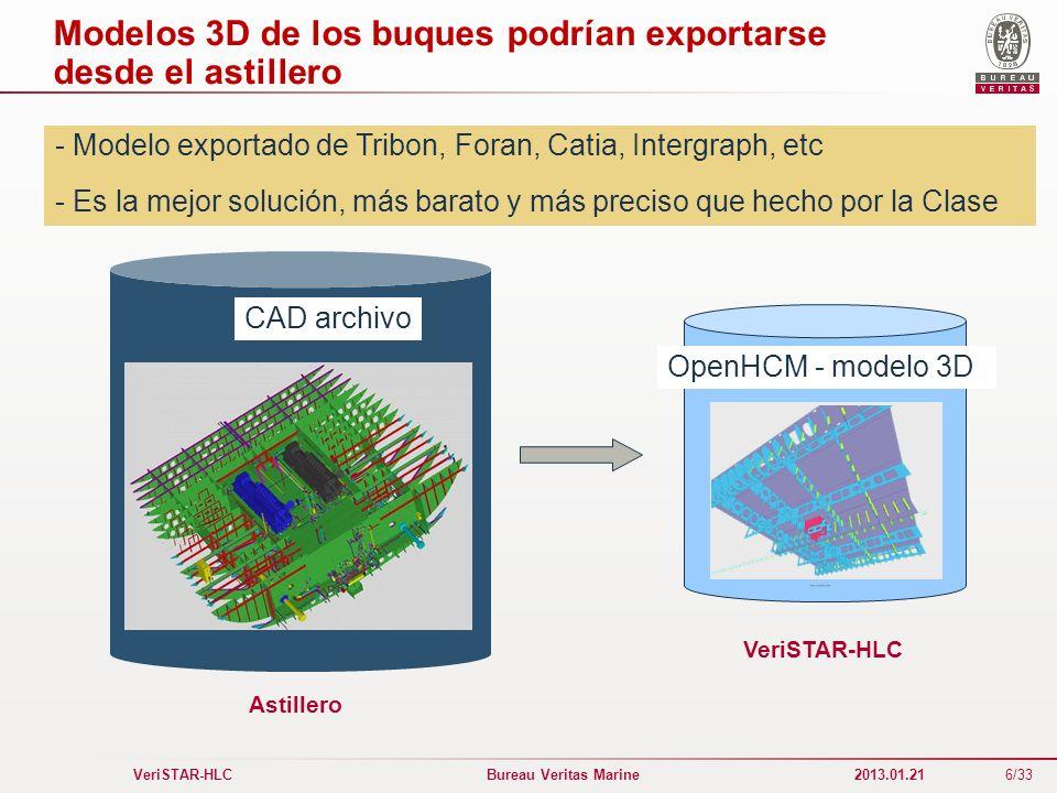 6/33 VeriSTAR-HLC Bureau Veritas Marine 2013.01.21 Modelos 3D de los buques podrían exportarse desde el astillero - Modelo exportado de Tribon, Foran,