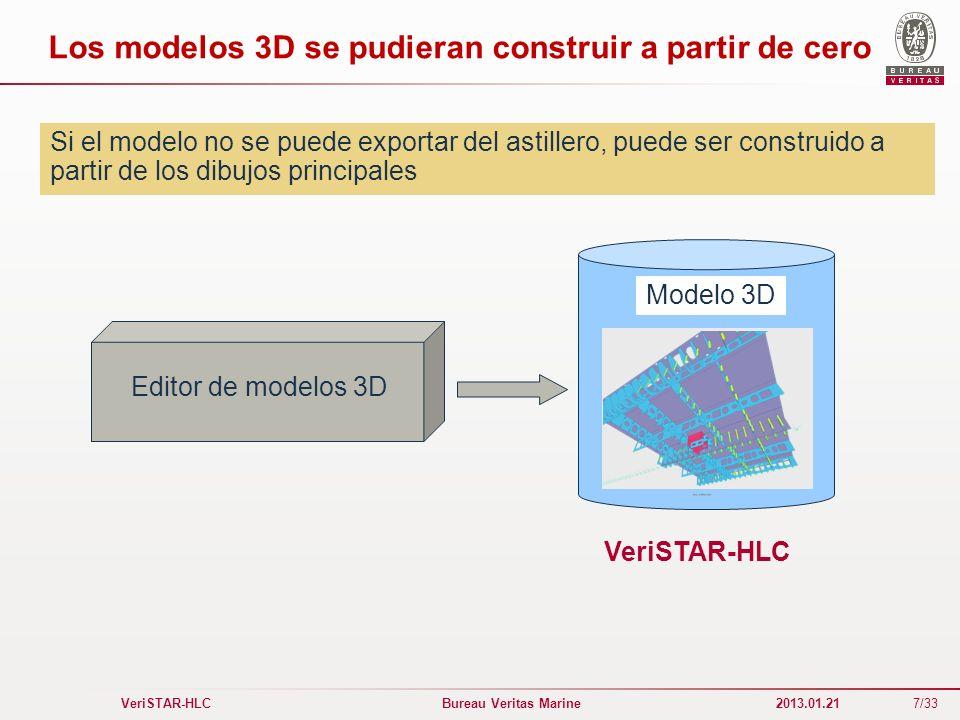 7/33 VeriSTAR-HLC Bureau Veritas Marine 2013.01.21 Los modelos 3D se pudieran construir a partir de cero Modelo 3D VeriSTAR-HLC Editor de modelos 3D S