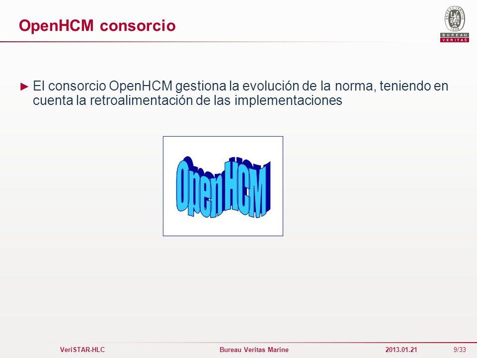 9/33 VeriSTAR-HLC Bureau Veritas Marine 2013.01.21 OpenHCM consorcio El consorcio OpenHCM gestiona la evolución de la norma, teniendo en cuenta la ret