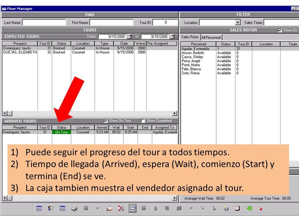 1)Puede seguir el progreso del tour a todos tiempos. 2)Tiempo de llegada (Arrived), espera (Wait), comienzo (Start) y termina (End) se ve. 3)La caja t