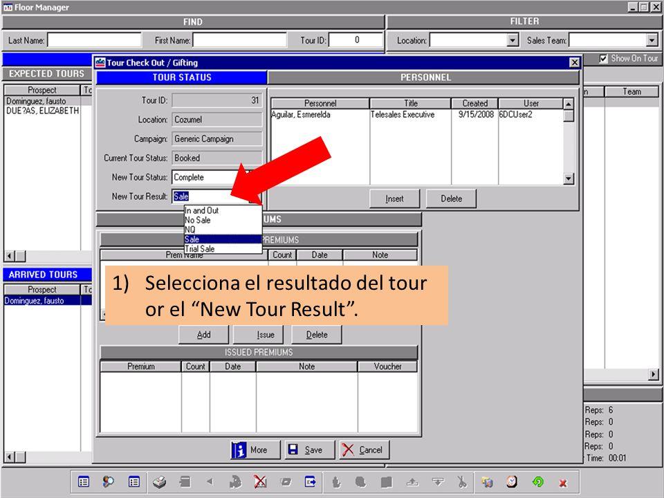 1)Selecciona el resultado del tour or el New Tour Result.