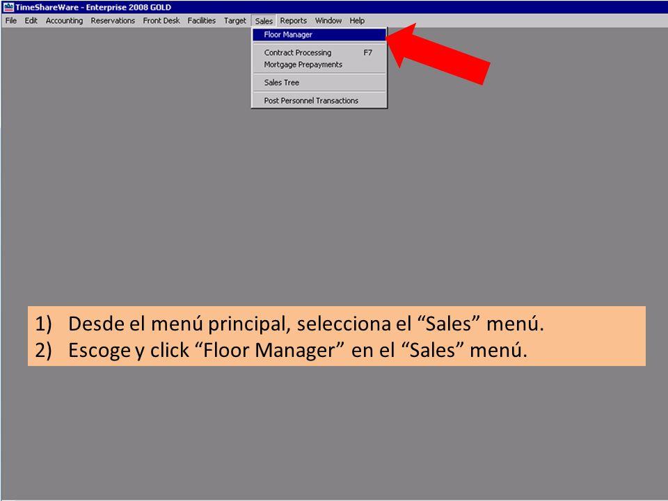 1)Desde el menú principal, selecciona el Sales menú. 2)Escoge y click Floor Manager en el Sales menú.