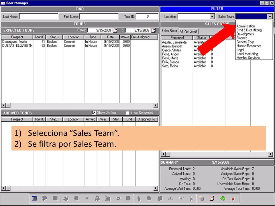 1)Selecciona Sales Team. 2)Se filtra por Sales Team.