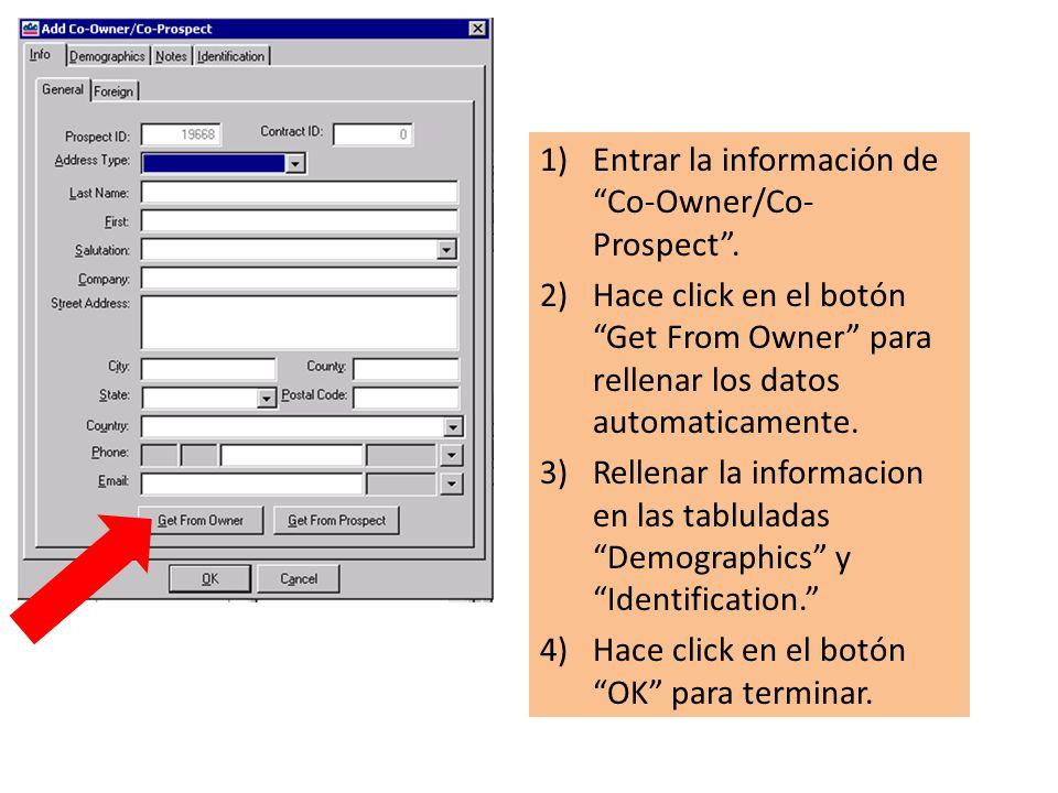 1)Entrar la información de Co-Owner/Co- Prospect.
